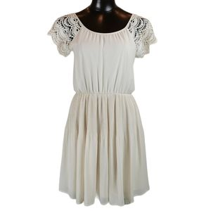 Lush Off White Dress with Knit Sleeve SZ Med